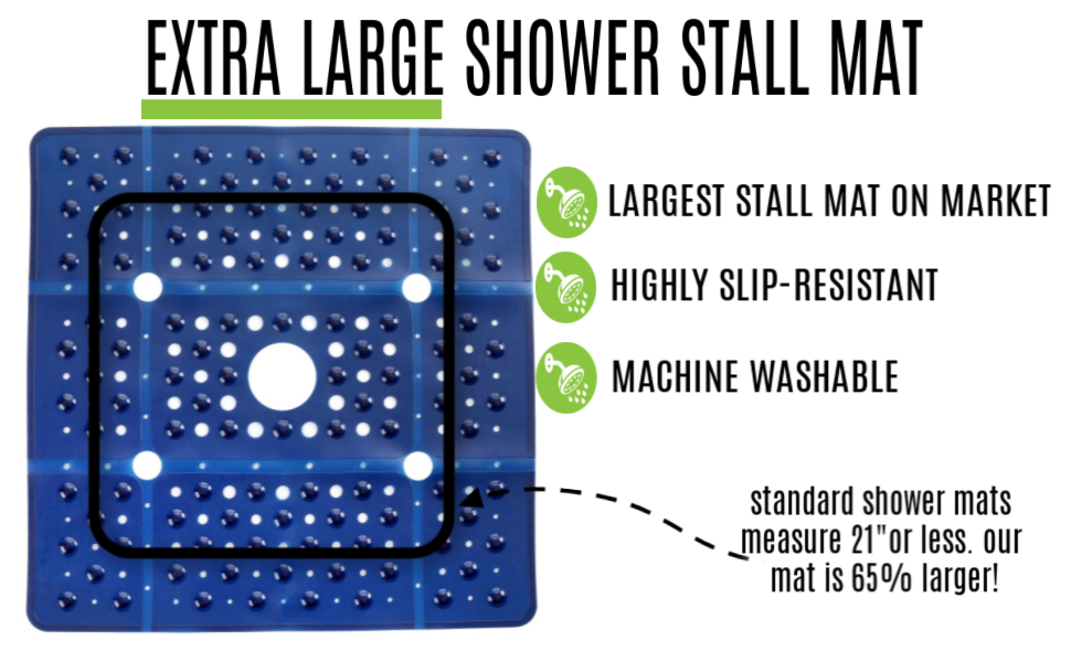 slipx solutions navy blue extra large shower stall mat