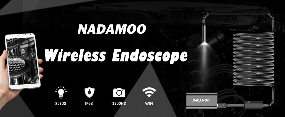 iPhone Table PC iPad NADAMOO Wireless Endoscope IP68 Waterproof Borescope Snake Inspection Camera with 8 LED Adjustable Lights 1200P HD WiFi Endoscope for iOS Android Smartphones 16.4 Feet