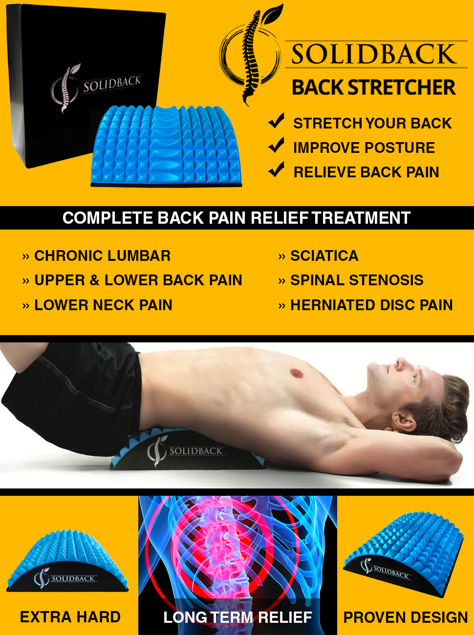 Details about  /Solidback Lower Back Pain Relief Treatment Stretcher Chronic Lumbar Support Disc