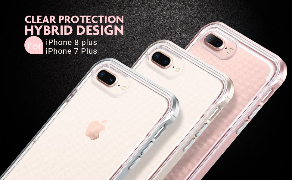 2e9310f5d6 apple iphone 7 plus clear iphone 8 plus 5.5 inch case Shock Absorption  Bumper Soft TPU