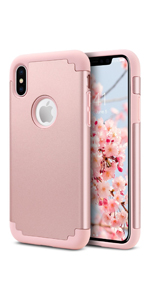 iPhone XS case rose gold iPhone x cases for girls women girly phone silicone protective cover pink