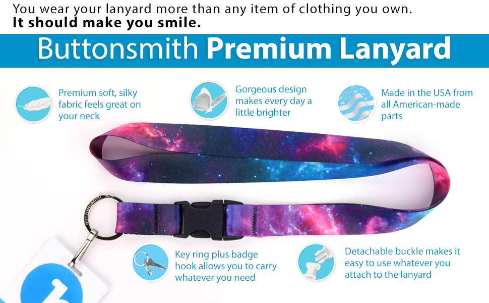 nebula astronomy galaxy id badge key holder ring lanyard premium material removable front buckle