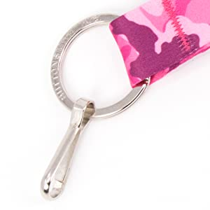 pink camo camouflage key ring clip chain soft wristlet