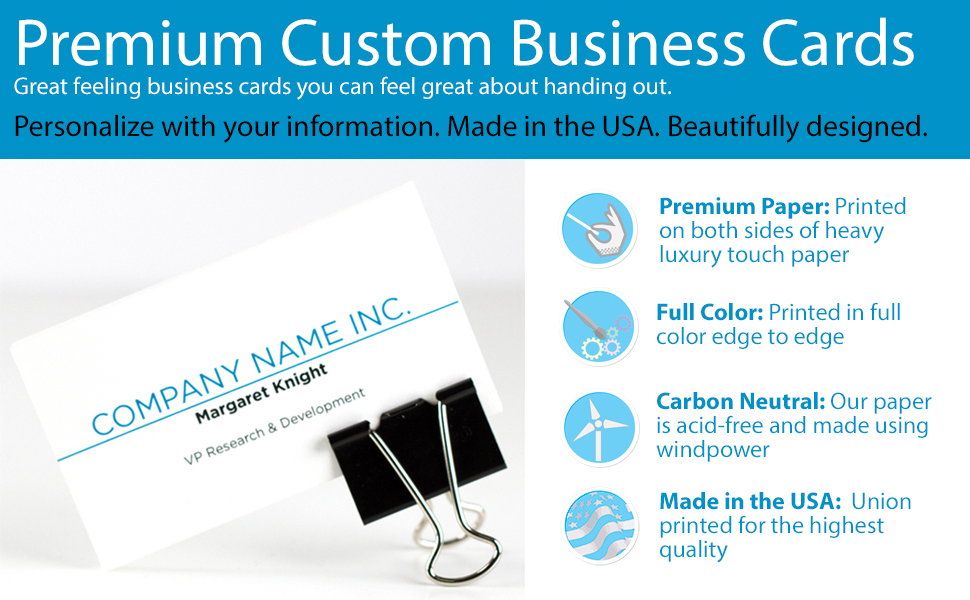 Amazon.com : Buttonsmith Custom Premium Business Cards - Full Color ...