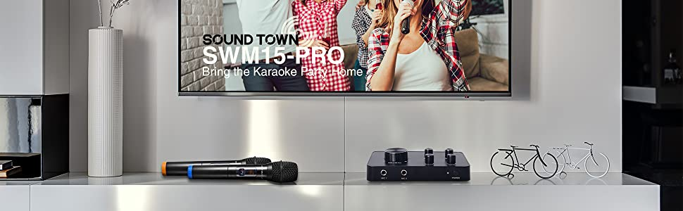 Sound Town 16 Channels Wireless Karaoke Microphone and Mixer System with  Bluetooth, HDMI ARC, AUX, Supports Smart TV with HDMI Output (ARC), Media