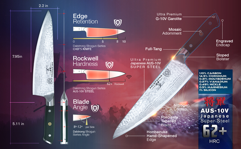 dalstrong chef knife professional shogun series x japanese aus-10v high carbon super steel multi-use