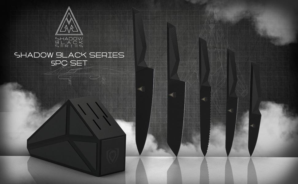 dalstrong chef, dalstrong knife, shadow black, titanium, block set, chef knife, paring, santoku
