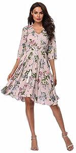 cbfad6ca2d67e Women's Dress 3/4 Sleeve Calf-Length Retro Floral Vintage Dress ...