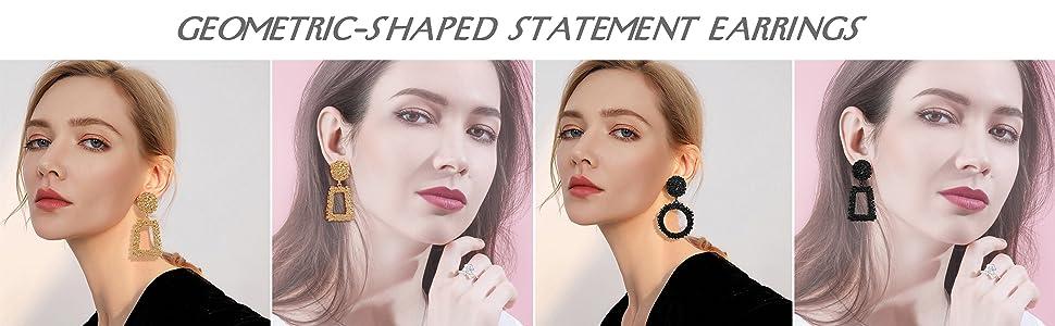 geometric-shaped statement earrings
