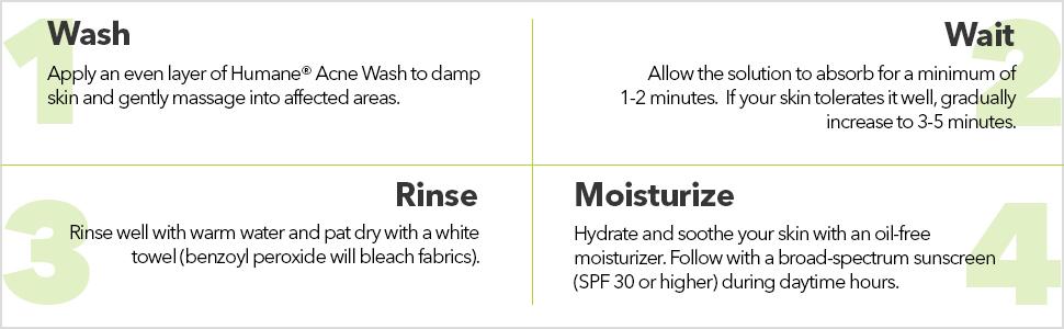 Humane Benzoyl Peroxide 10% Acne Treatment Body & Face Wash, 8 Ounce