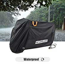NEVERLAND Motorcycle Covers 2 Stainless Steel Lock-Holes 210D Heavy Duty Motorbike Outdoor Waterproof Anti-UV Dust Rain Protector Black, 86.61 L x 37.4 W x 43.31H