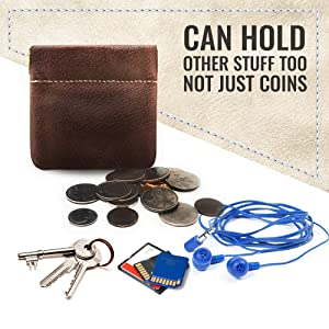 Genuine Leather Squeeze Coin Purse Change Holder USA Made Coin Pouch For Men/Woman Size 3.5 X 3.5