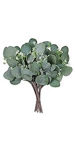 10 Pcs Fake Eucalyptus Leaves Stems Bulk
