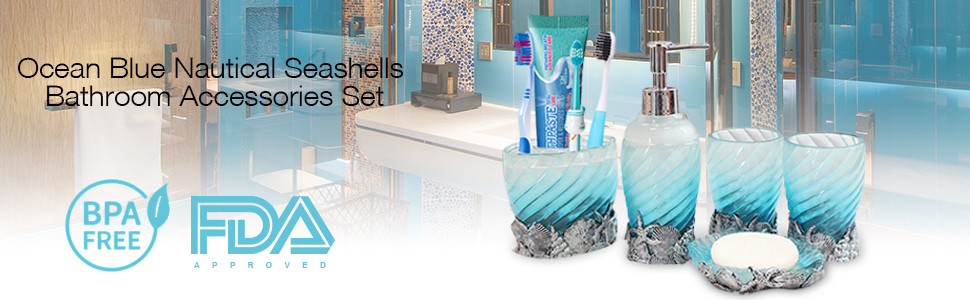 Amazon Com Ocean Blue Nautical Seashells Bathroom Accessories Set
