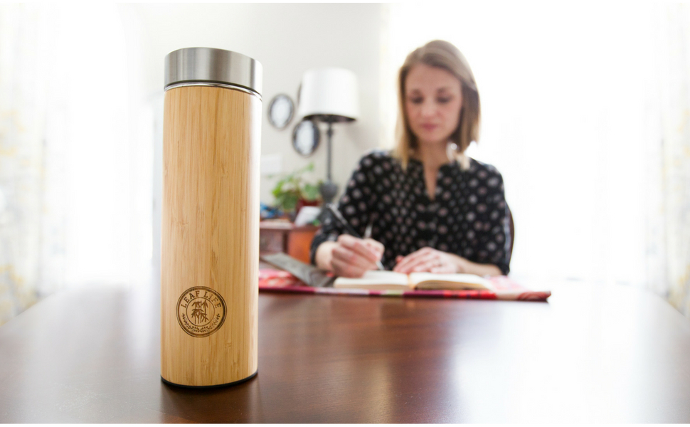 Bamboo Tumbler with Tea Infuser & Strainer by LeafLife | Gift For Tea Lovers