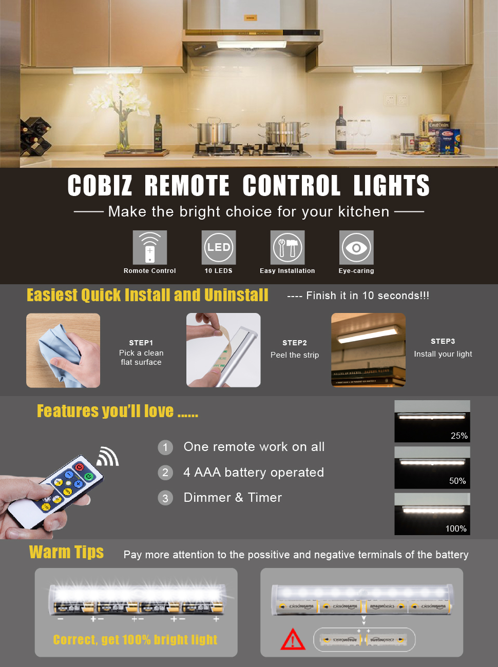 Make The Bright Choice When It Comes To Keeping Your Kitchen Visible This Easy To Install Easy To Customize Fixture From Cobiz Works As Under Counter