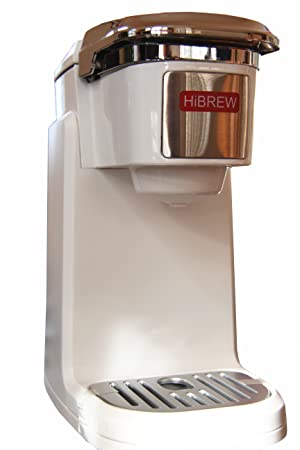 HiBREW Single Serve Travel Size Portable Compact K Cup Coffee Maker Brewing System Coffee Machine with Detachable Lid Easy to Wash (WHITE)