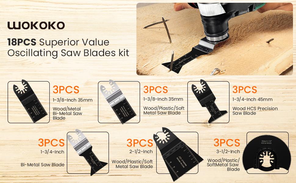 Amazon.com: WOKOKO - Juego de cuchillas de sierra oscilantes ...