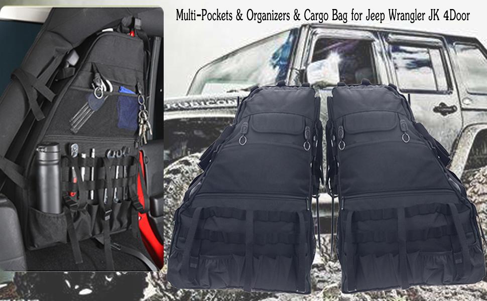 For Jeep Wrangler JK 2007-17 Roll Bar Storage Bag Organizers Tool Kits Holder