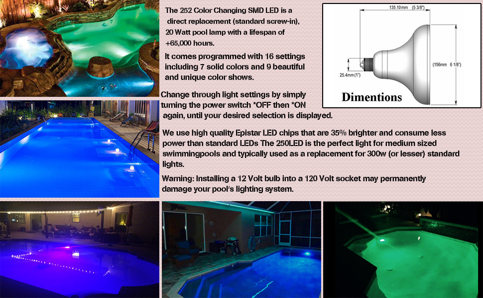 Bentolin 20w 252 Led 12 Volt Ac Dc Color Changing Replacement Swimming Pool Light