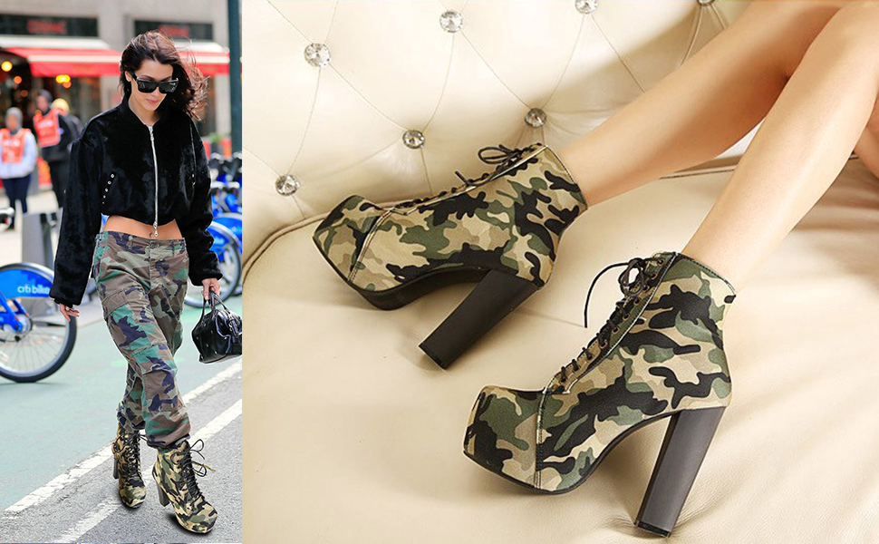 d712a846c2a61 Amazon.com   Odema Womens Military Ankle Boots Camouflage Sexy High ...