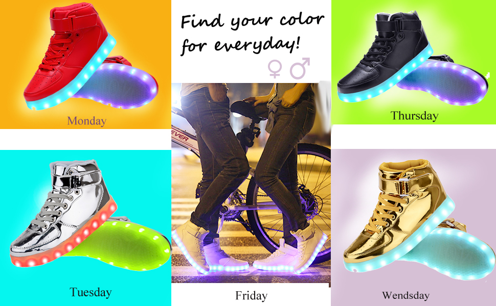 5c8cd4e0eca Odema Unisex LED Shoes High Top Breathable Sneakers Light Up Shoes for  Women Men Girls Boys Size 4.5-13