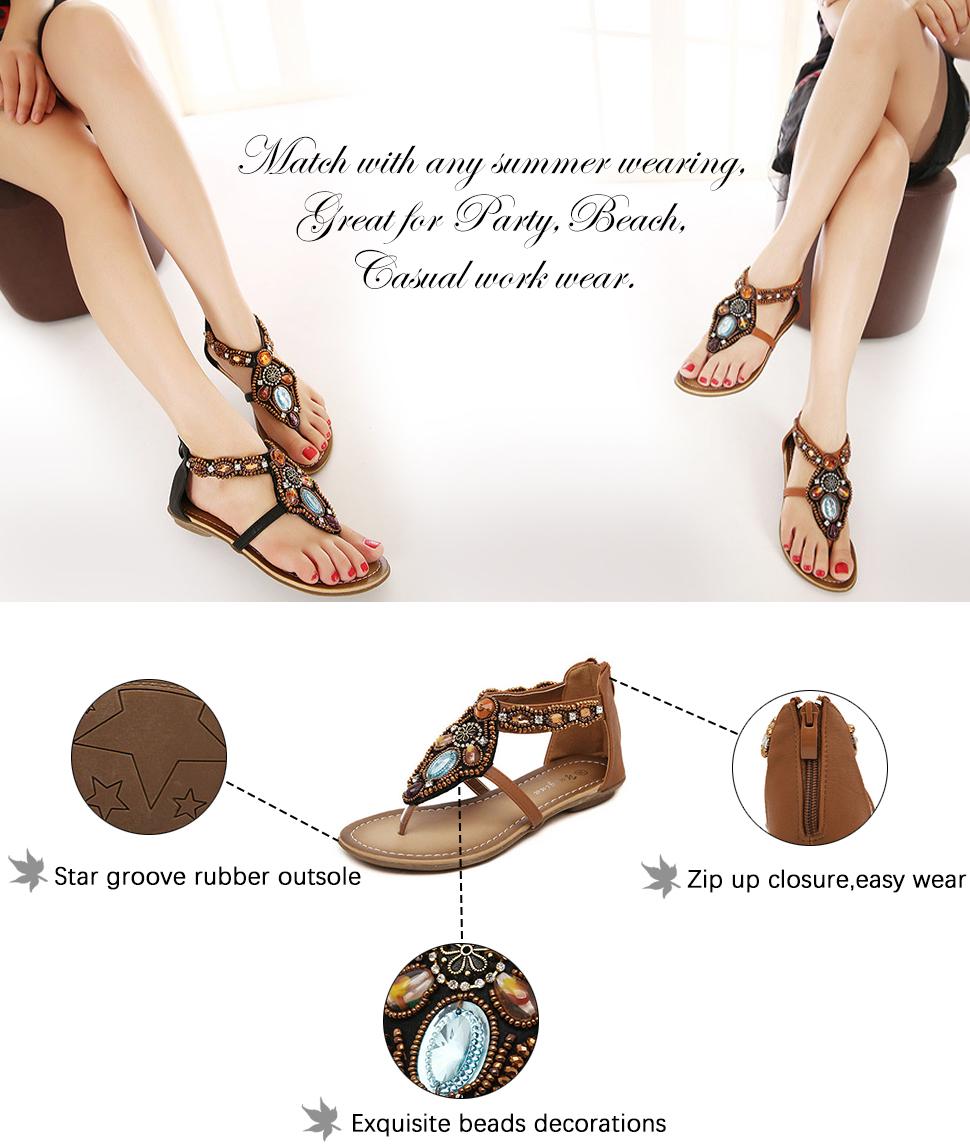 ed74d3afc145 Odema Women Summer Flat Thong Sandals Roman T-Strap Rhinestone Beads  Gladiator Flat Beach Zipper Sandals