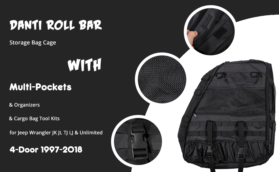 Pack of 2 Bentolin Roll Bar Storage Bag Cage with Multi-Pockets /& Organizers /& Cargo Bag Tool Kits Holder for 2007~2019 Jeep Wrangler JK Rubicon 4-Door