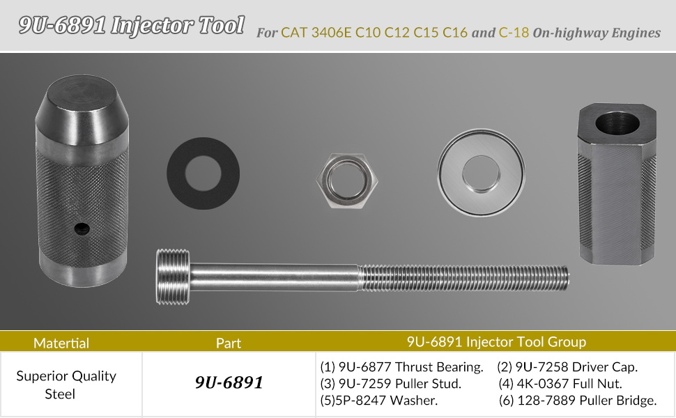 Amazon com: 9U-6891 Injector Tool For CAT 3406E C10 C12 C15