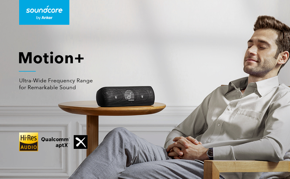 Anker Soundcore Motion+ Bluetooth Speaker with Hi-Res 30W Audio, Extended Bass and Treble, Wireless HiFi Portable Speaker with App, Customizable EQ, 12-Hour Playtime, IPX7 Waterproof, and USB-C 29bbfe37 4cbe 4da5 8fb7 884fa3beb974