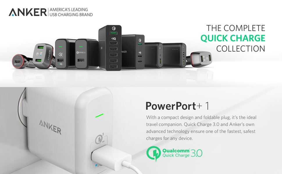 Incarcator de retea Anker PowerPort+ 1 Qualcomm Quick Charge 3.0 USB 18W PowerIQ Alb