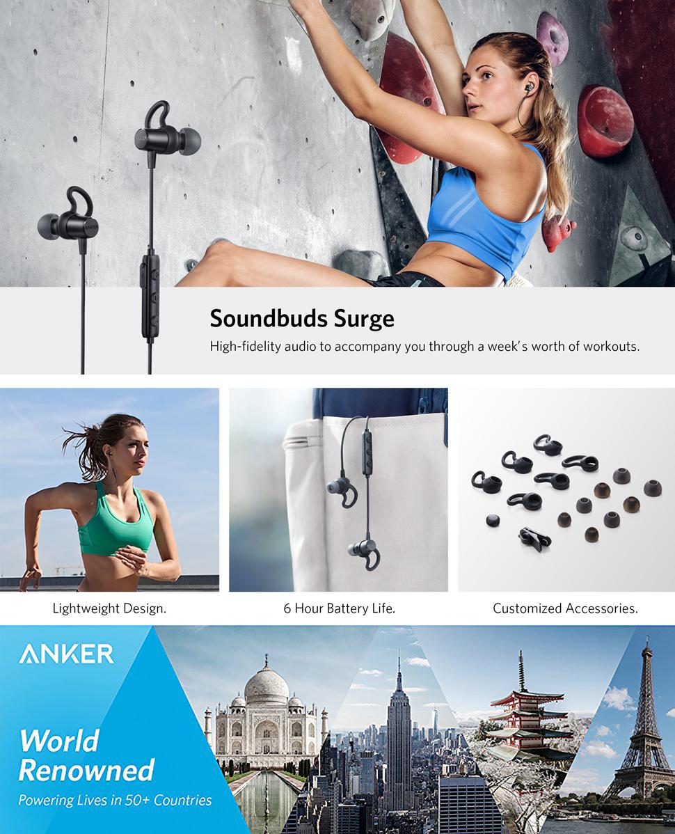 Casti wireless bluetooth Anker SoundBuds Surge Negru