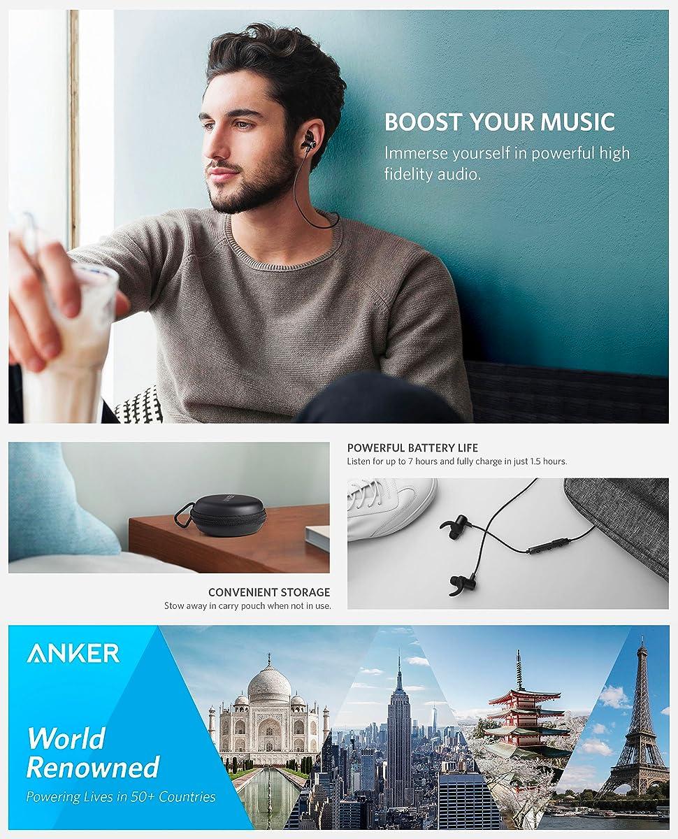 Casti wireless bluetooth Anker SoundBuds Slim+