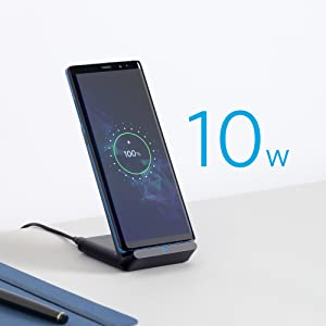 Anker Wireless Charger, PowerWave Stand, Qi-Certified for iPhone 11, 11 Pro, 11 Pro Max, XR, Xs Max, XS, X, 8, 8 Plus, 10W Fast-Charging Galaxy S10 S9 ...