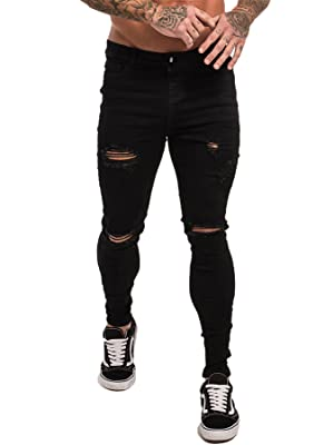 GINGTTO Skinny Jeans for Men Stretch Slim Fit Ripped Distressed