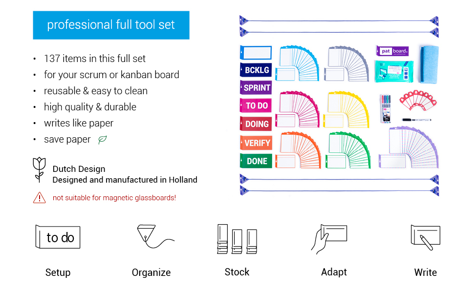 full tool set kanban scrum board kit magnetic notes magnets cards agile project team work reusable