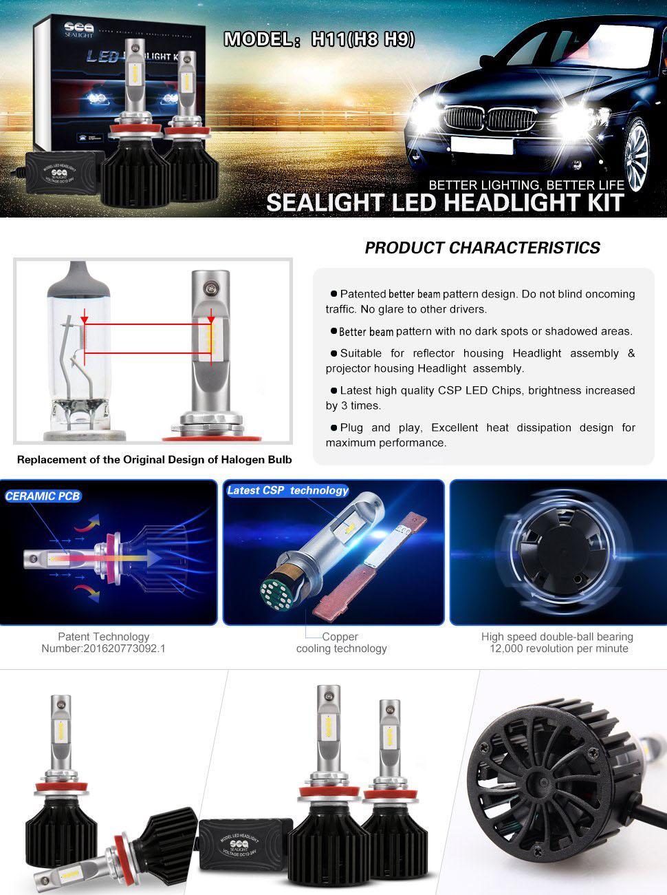 Led Headlight Bulbs H11 H8 H9 Conversion Kit Dot After Market Wiringheadlightmotorcyclepwhl22202101 Sealight X2 Series