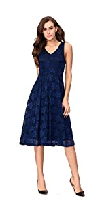 537c3cba6a09 ... Noctflos Lace V Neck Fit   Flare Midi Cocktail Dress for Women Party  Wedding ...