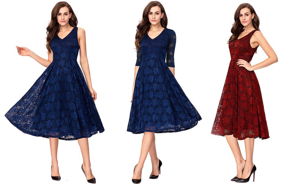 Amazon Noctflos Lace V Neck Fit Flare Cocktail Tea Dress For