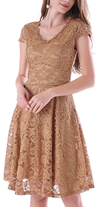 Noctflos Women's Lace Bridesmaid Dress Vintage V-Neck Cocktail Dresses with Cap Sleeves Summer Party