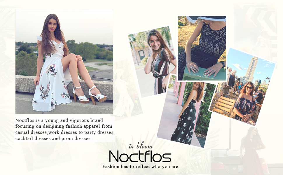 Noctflos summer dress for work vacation wedding party