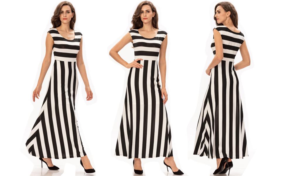 aeb7232ee8 Noctflos Women's Stripes Tank Top Scoop Neck Loose Casual Long Dresses
