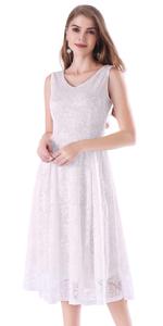 Noctflos White Lace V Neck Fit & Flare Midi Cocktail Dress for Women Party Wedding