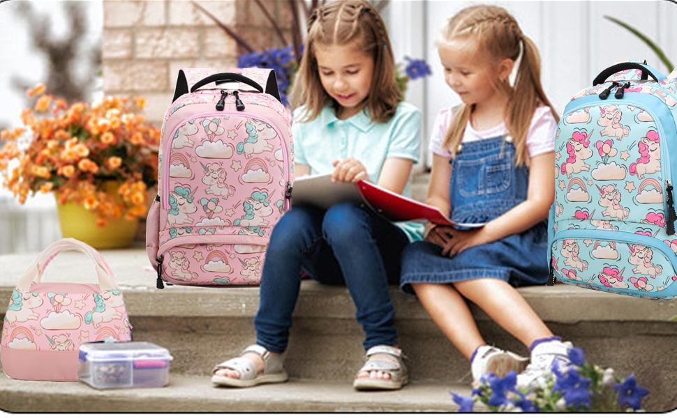 Jolyhui Student Kids Unicorn Pattern Backpack Classic Casual Travel Daypack College Bookbag for Kids 32c1842cm