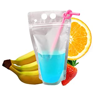 drinking pouch, clear pouch, straw pouch, drinking straw pouch, adult capri suns
