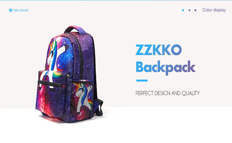 a3ba0ee86f1 Amazon.com  ZZKKO Space Galaxy Animal Unicorn Backpacks School Book ...
