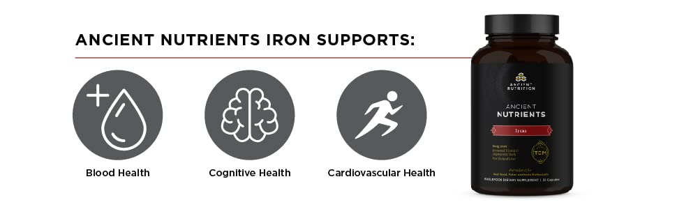 Ancient Nutrients Iron Supports blood health, cognitive health, and cardiovascular health