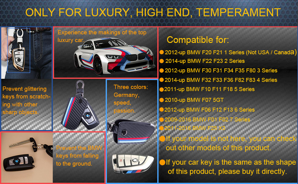 JKCOVER for BMW 1 2 3 4 5 6 7 Series X3 Remote Fob, M-Colored Stripe Black Carbon Fiber Pattern Leather Key Holder with Keychain