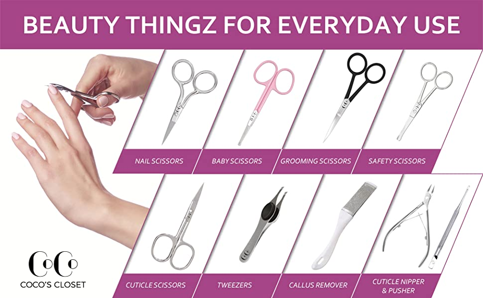coco's closet range: scissors, tweezers, cuticle nipper