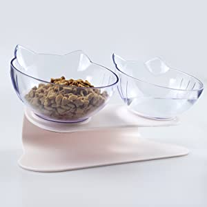 Cute Cat Double Bowl Raised
